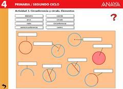 Las figuras planas. Elementos de la circunferencia y del círculo. Editorial Anaya