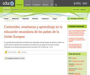 Contenidos, enseñanza y aprendizaje en la educación secundaria de los países de la Unión Europea
