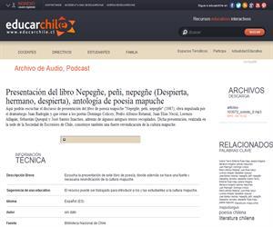 Presentación del libro Nepegñe, peñi, nepegñe (Educarchile)