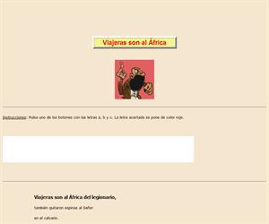 Viajeras son al África, lectura comprensiva interactiva