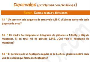 Decimales (problemas con divisiones) - Ficha para imprimir
