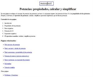 Potencias: propiedades, calcular y simplificar