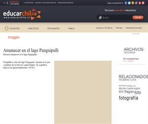Amanecer en el lago Panguipulli (Educarchile)