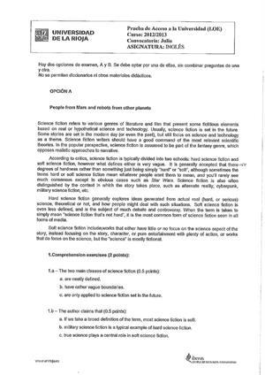 Examen de Selectividad: Inglés. La Rioja. Convocatoria Julio 2013