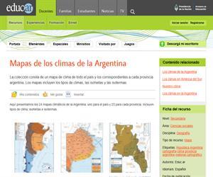 Mapas de los climas de la Argentina