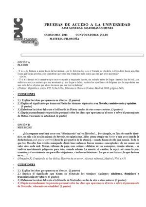 Examen de Selectividad: Historia de filosofía. Canarias. Convocatoria Julio 2013