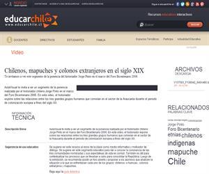 Chilenos, mapuches y colonos extranjeros en el siglo XIX (Educarchile)