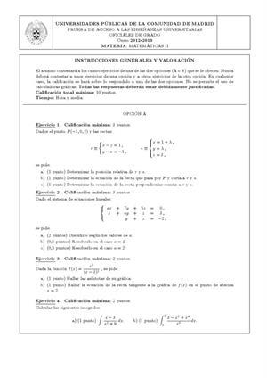 Examen de Selectividad: Matemáticas II. Madrid. Convocatoria Junio 2013