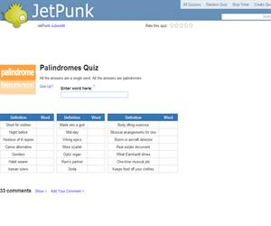 Palindromes Quiz