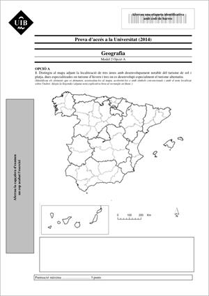 Examen de Selectividad: Geografía. Islas Baleares. Convocatoria Junio 2014