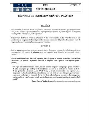 Examen de Selectividad: Técnicas de expresión grafo-plástica. Galicia. Convocatoria Septiembre 2013