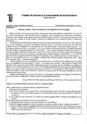 Examen de Selectividad: Lengua castellana y su literatura. Extremadura. Convocatoria Junio 2014