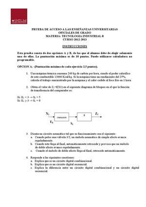 Examen de Selectividad: Tecnología industrial. Castilla-La Mancha. Convocatoria Junio 2013