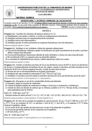 Examen de Selectividad: Química. Madrid. Convocatoria Junio 2013