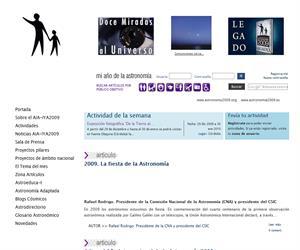 astronomia2009.es:  un espacio web dedicado al año Internacional de la Astronomía 2009 en España
