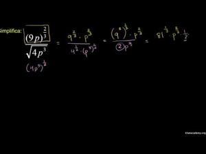 Expresiones con exponentes fraccionarios 3 (Khan Academy Español)