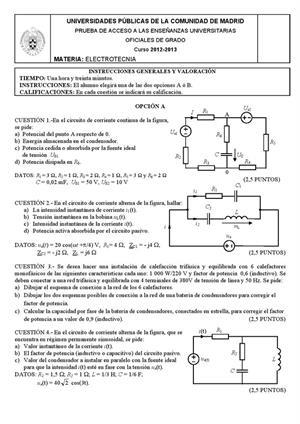 Examen de Selectividad: Electrotecnia. Madrid. Convocatoria Septiembre 2013