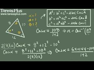 Teorema del coseno ejemplo 5 (tres lados) (Tareas Plus)