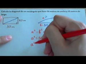Calcular la diagonal de un rectángulo o cuadrado y problema de calcular la diagonal