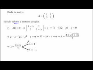 Diagonalización de matrices. Valores y vectores propios. Cibermatex