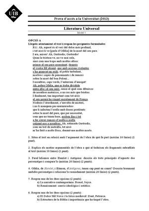 Examen de Selectividad: Literatura universal. Islas Baleares. Convocatoria Junio 2013