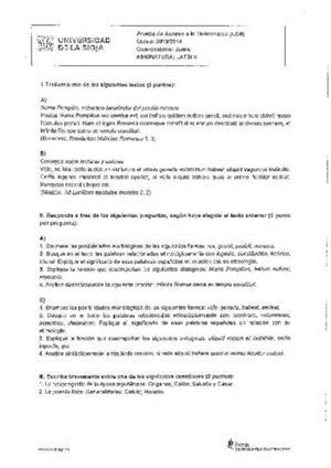 Examen de Selectividad: Latín. La Rioja. Convocatoria Junio 2014
