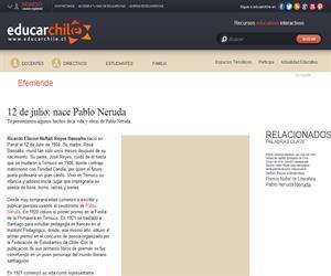 Efeméride Pablo Neruda (Educarchile)