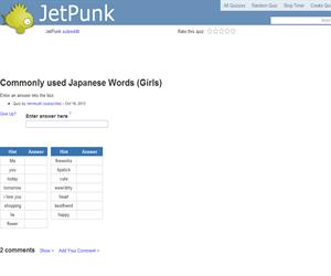 Commonly used Japanese Words (Girls)