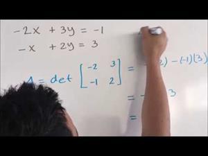 Sistema de ecuaciones lineales (2x2). Regla de Cramer. Ejercicio 2
