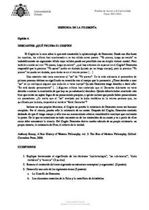 Examen de Selectividad: Historia de la filosofía. Asturias. Convocatoria Junio 2014