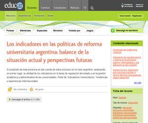 Los indicadores en las políticas de reforma universitaria argentina: balance de la situación actual y perspectivas futuras