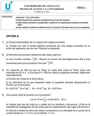 Examen de Selectividad: Física 2. Andalucía. Convocatoria Junio 2012