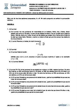 Examen de Selectividad: Matemáticas CCSS. Aragón. Convocatoria Junio 2014
