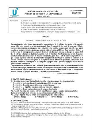 Examen de Selectividad: Francés. Andalucía. Convocatoria Junio 2013
