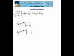 Cálculo de un determinante de orden 3 por la primera fila