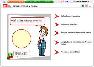 Autoevaluación. Circunferencia y círculo. Matemáticas para 1º de Secundaria