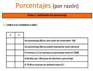 Porcentajes (por razón) - Ficha de ejercicios