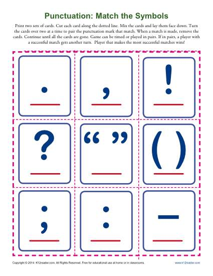 Punctuation: Match the Symbols