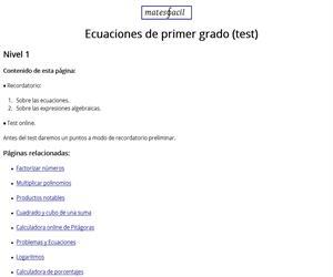 Test: ecuaciones y expresiones algebraicas