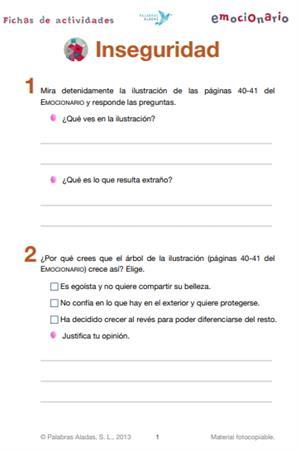 Ficha de actividades sobre la inseguridad. Emocionario