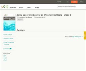 E-book: sobre Decimales, Fracciones, Porcentajes... CK-12 Conceptos Escuela de Matemáticas Medio