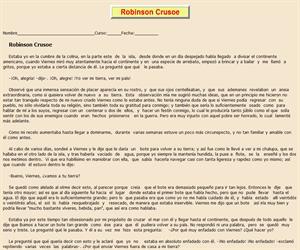 Robinsón Crusoe, ficha de lectura comprensiva