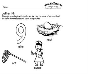 Activity sheet ? Nn sound (Educarchile)