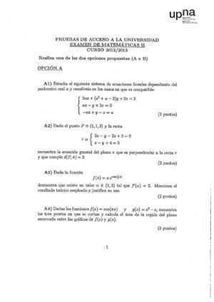 Examen de Selectividad: Matemáticas II. Navarra. Convocatoria Junio 2013