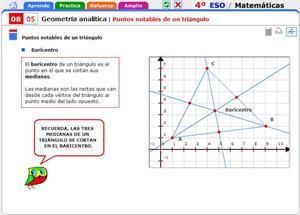 Puntos notables de un triángulo. Matemáticas para 4º de Secundaria