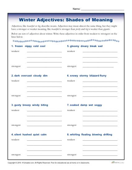 Winter Adjectives: Shades of Meaning