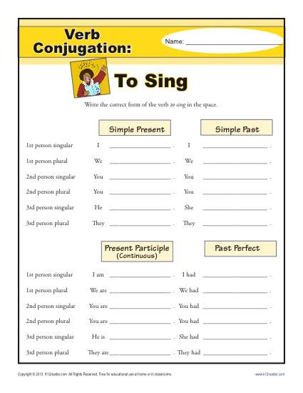 Verb Conjugations: To Sing