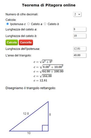 Teorema di Pitagora online