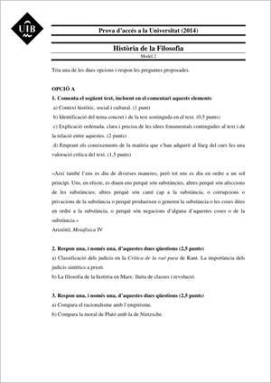 Examen de Selectividad: Historia de la filosofía. Islas Baleares. Convocatoria Junio 2014