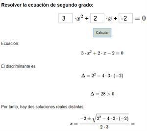 Calculadora para resolver ecuaciones de segundo grado